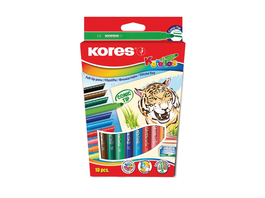 Popisovače Kores Korello - 10 barev / silný hrot