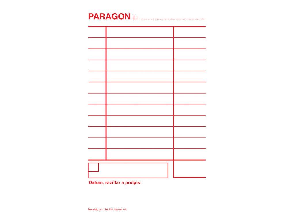 Paragon Baloušek - blok 80 x 150 mm / nečíslovaný 50 listů / NCR / PT005