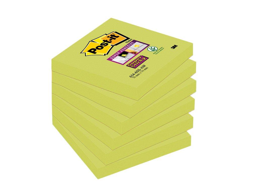 Samolepicí bločky Post-it silně lepící - 76 mm x 76 mm / 90 lístků / neon zelená