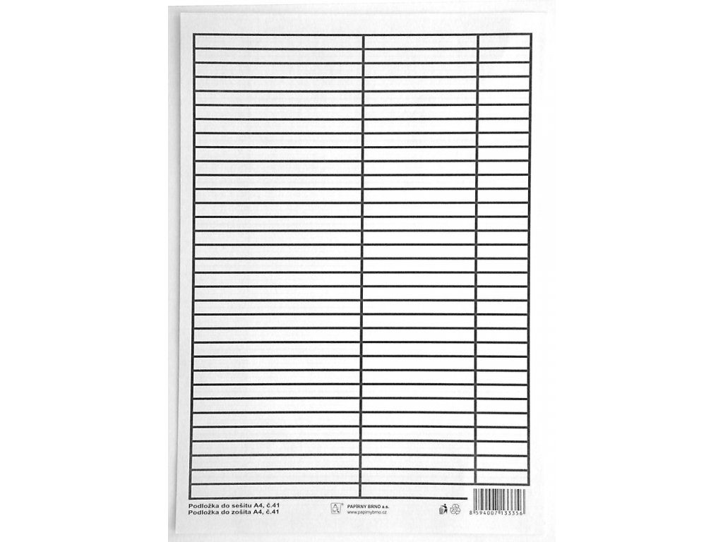 Podložky do sešitů papírové + PVC - podložka A4 / linka - linka / PVC