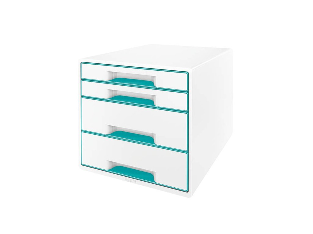 Zásuvkový box Leitz WOW - tyrkysová / 2+2 zásuvky