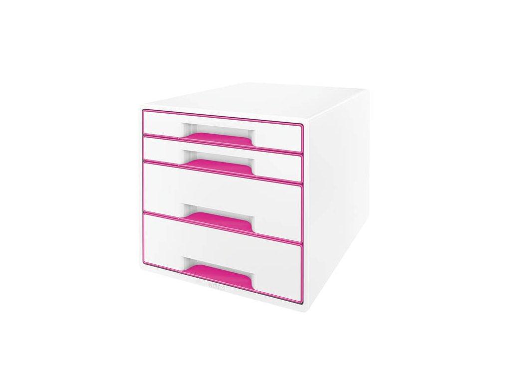 Zásuvkový box Leitz WOW - růžová / 2+2 zásuvky