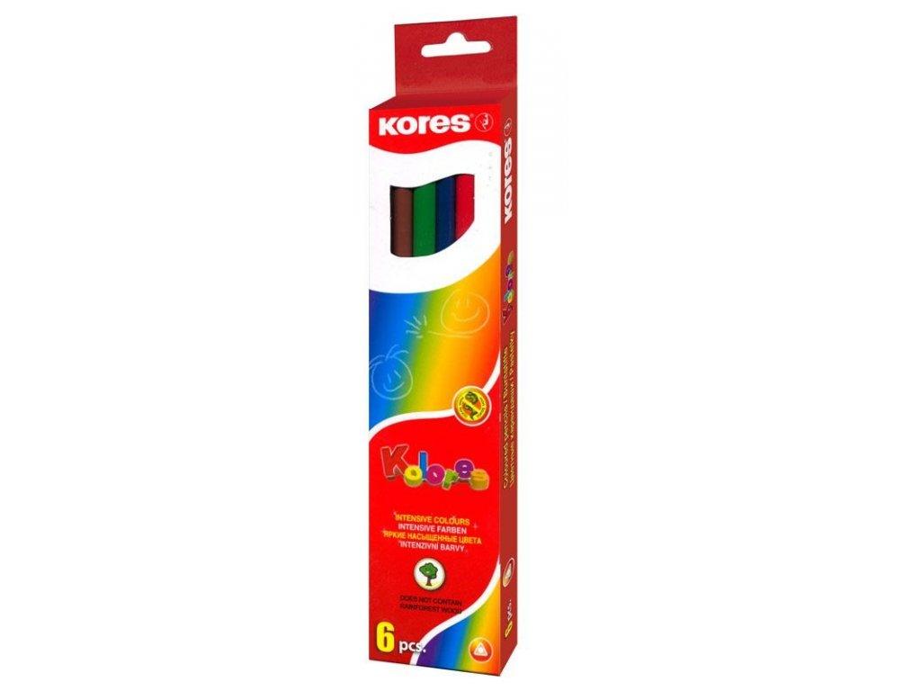 Pastelky trojhranné Kores - 6 barev
