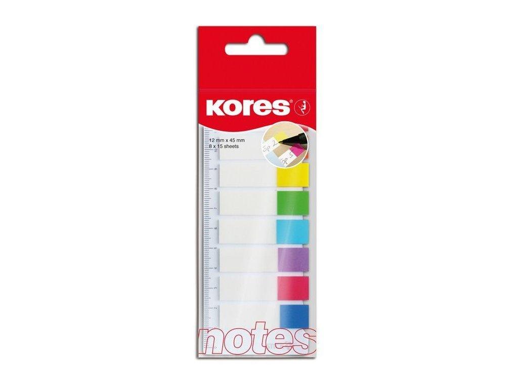 Samolepící záložky Kores Index Strips - 8 x 25 lístků / barevné