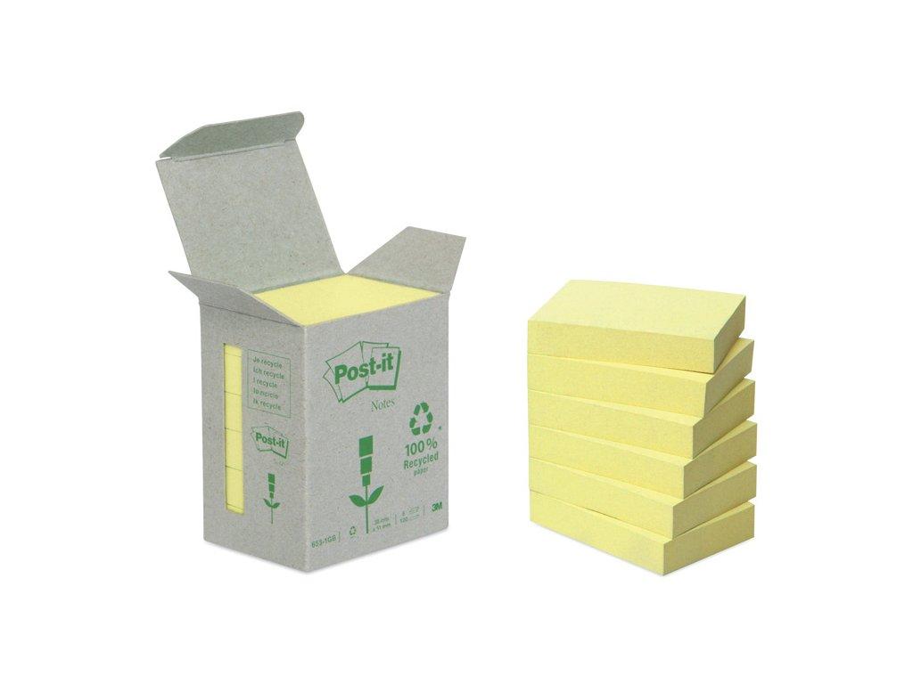 Samolepící bločky Post-it recyklované - 38 x 51 mm / žlutá / 6 x 100 lístků