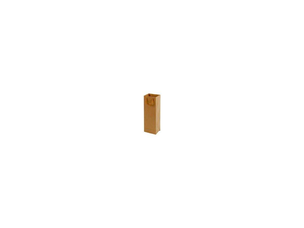 Tašky papírové EKO hnědé - na láhev / 115 x 90 x 355 mm