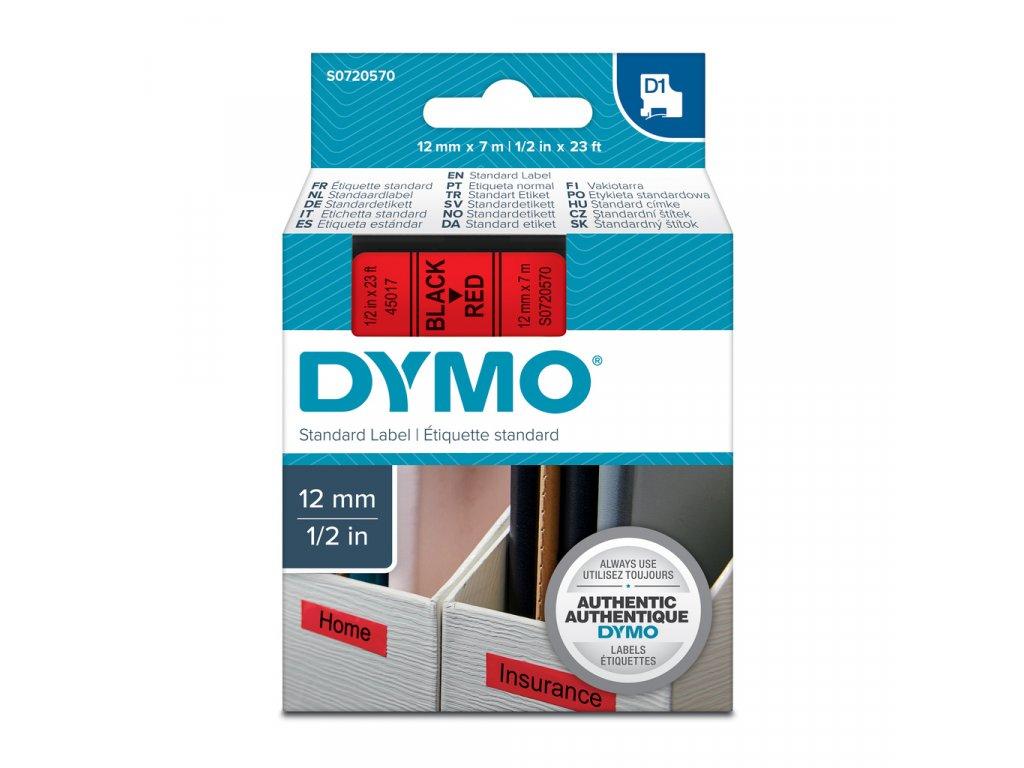 Pásky D1 standardní - 12 mm x 7 m / černý tisk / červená páska