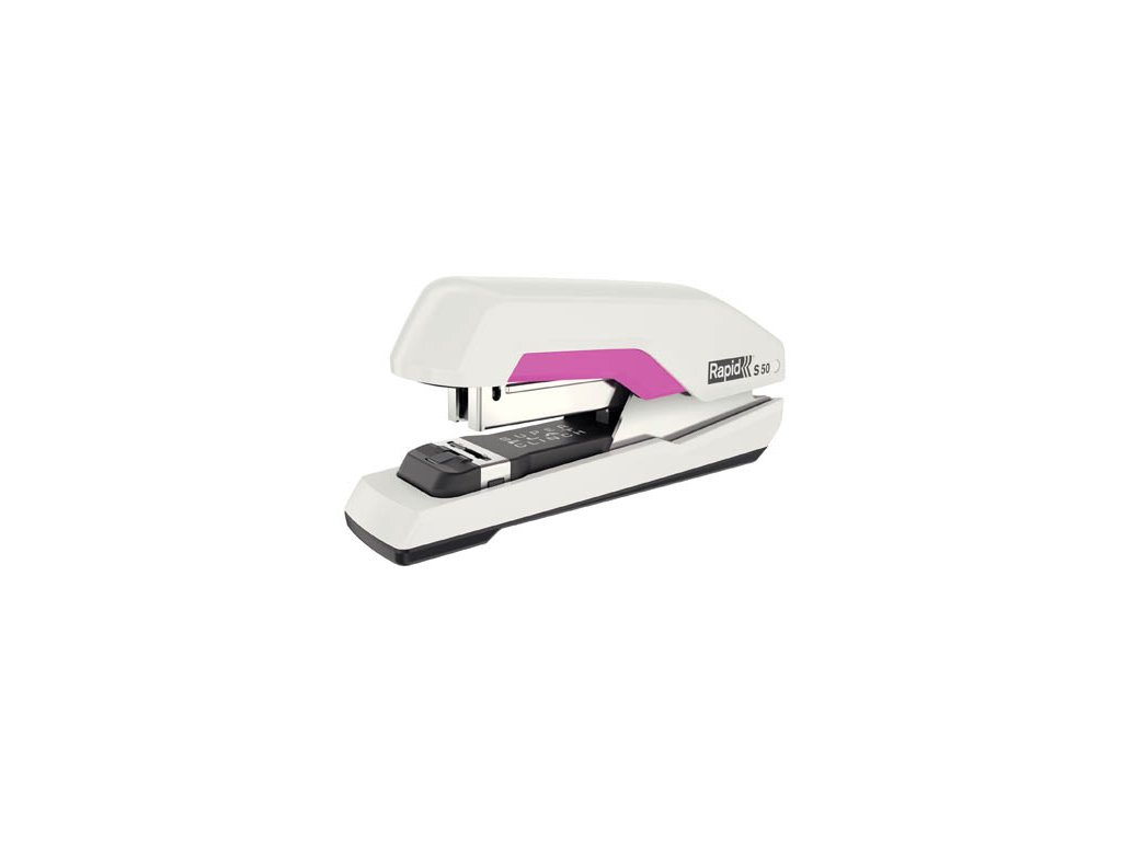 Kancelářský sešívač Rapid S50 SUPER Flat - clinch - bílá / růžová