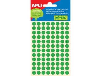 Samolepicí kolečka APLI barevná - ? 8 mm / 288 etiket / zelená