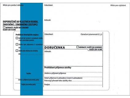 Obálky B6 s doručenkou, vytrhovací okénko - s modrým pruhem / 1000 ks