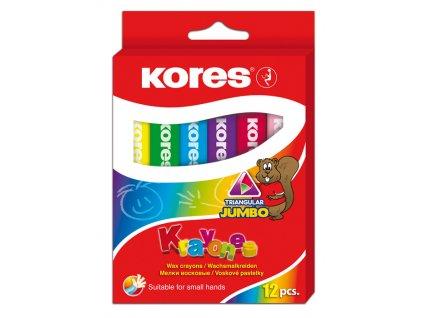 Voskové pastelky trojhranné Kores - 12 barev / Jumbo