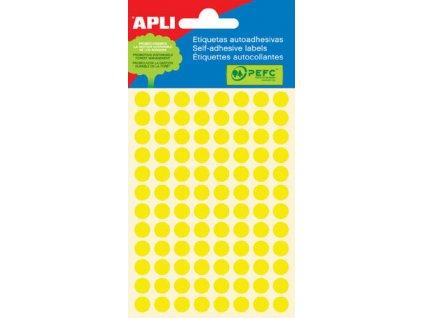 Samolepicí kolečka APLI barevná - ? 8 mm / 288 etiket / žlutá