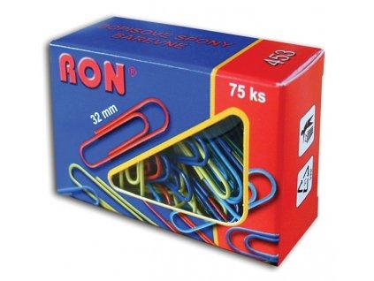 Dopisní spony RON barevné - 32 mm / 75 ks