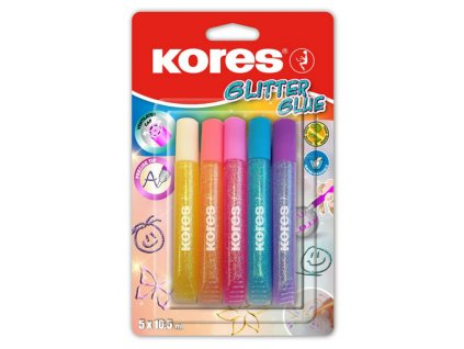 Lepidlo Kores Glitter Glue - 5 x 10,5 ml / pastelové barvy