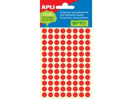 Samolepicí kolečka APLI barevná - ? 8 mm / 288 etiket / červená