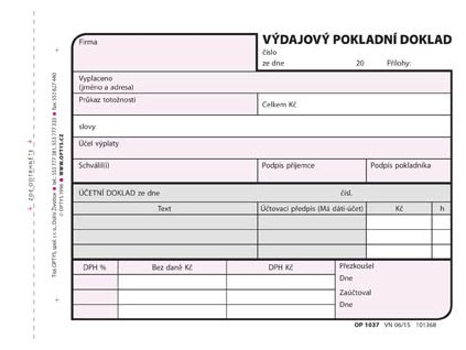 Výdajový pokladní doklad Optys - A6 / 100 listů / 1037