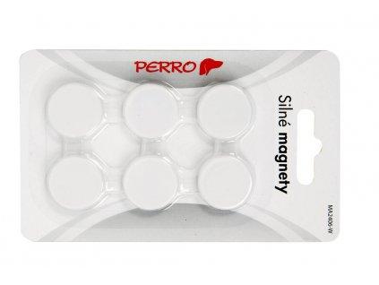 Magnety Perro silné - průměr 24 mm / bílé / 6 ks
