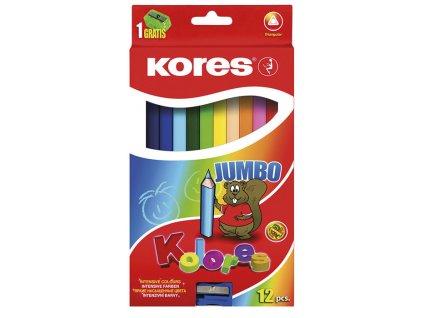 Pastelky trojhranné Kores JUMBO - 12 barev