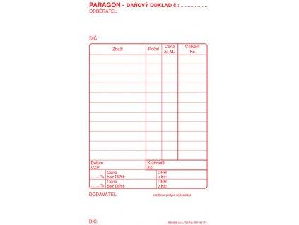 Paragon daňový doklad - blok 80 x 150 mm / nečíslovaný 50 listů / ET010