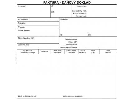 Faktura daňový doklad - 2/3 A4 /50 listů/ NCR / PT200