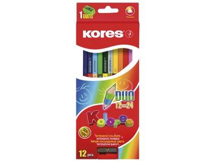 Pastelky trojhranné Kores - oboustranné / 24 barev