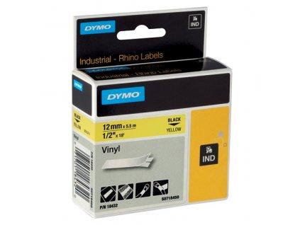 Pásky D1 vinylové permanentní - 12 mm x 5,5 m / černý tisk / žlutá páska