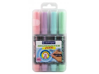 Zvýrazňovač Centropen 8542 Flexi Soft - sada 4ks / pastelové barvy