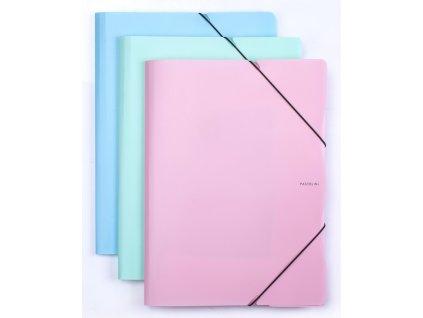 Spisové desky A4 s gumou PASTELINI - modrá
