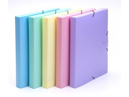 Box na spisy A4 s gumou PASTELINI - fialová