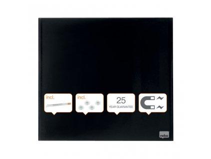 Tabule magnetické skleněné Nobo Diamond - 45 x 45 cm / černá