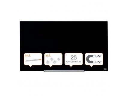 Tabule magnetické skleněné Nobo Diamond - 99,3 x 55,9 cm / černá
