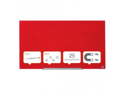 Tabule magnetické skleněné Nobo Diamond - 99,3 x 55,9 cm / červená