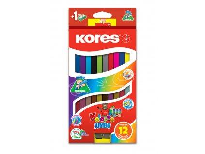 Pastelky trojhranné Kores JUMBO - 24 barev / oboustranné