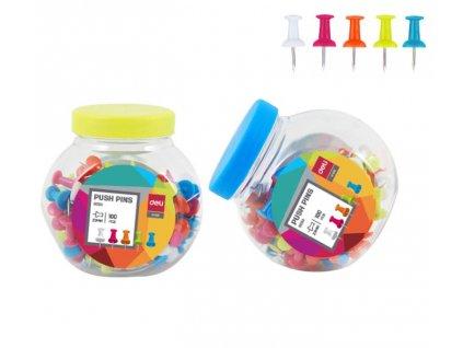 Špendlíky na nástěnku DELI - 100 ks / barevný mix