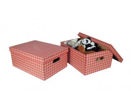 Krabice úložná s víkem - červená / A3 / 44 x 32 x 20 cm