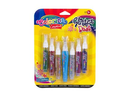 Třpytkový prach Colorino - 6 barev + lepicí pero - 6 barev + lepicí pero