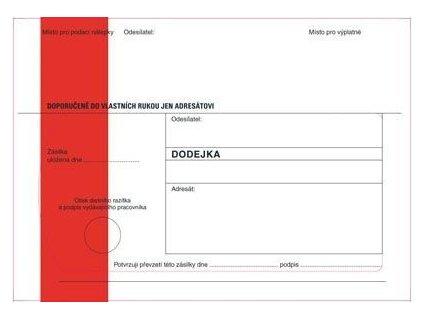 Obálky B6 s dodejkou samopropisovací - s červeným pruhem / 1000 ks