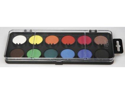 Vodové barvy - 12 barev / průměr 30 mm