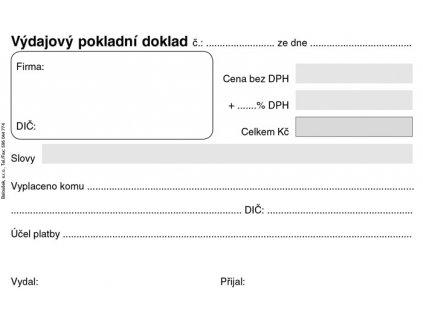 Výdajový pokladní doklad - A6 / nečíslovaný 50 listů / ET040