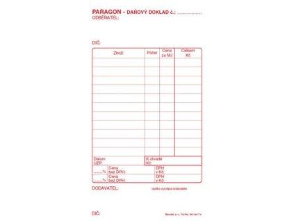 Paragon daňový doklad - blok 80 x 150 mm / nečíslovaný 50 listů / NCR / PT010