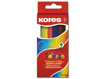 Pastelky trojhranné Kores MINI - 5 barev + tužka