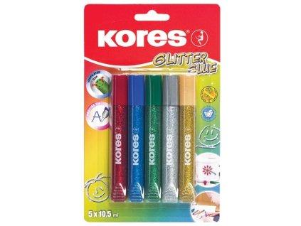 Lepidlo Kores Glitter Glue - 5 x 10,5 ml / klasické barvy