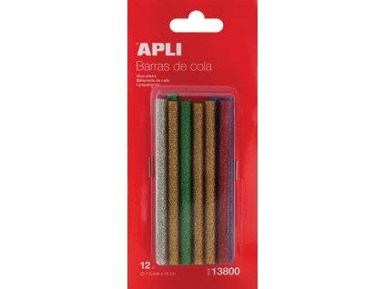 Lepicí pistole APLI - náhradní tyčinky barevné se třpytkami / 7,5 mm / 12 ks