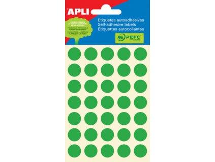 Samolepicí kolečka APLI barevná - ? 13 mm / 175 etiket / zelená