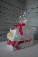 Plenkovník, zásobník na plenky, dárek pro kamaráda, pletený z novinově bílých ruliček