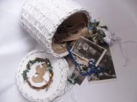 Vzpomínkový boxík svatební, opletená papírová roura, doaranfováno