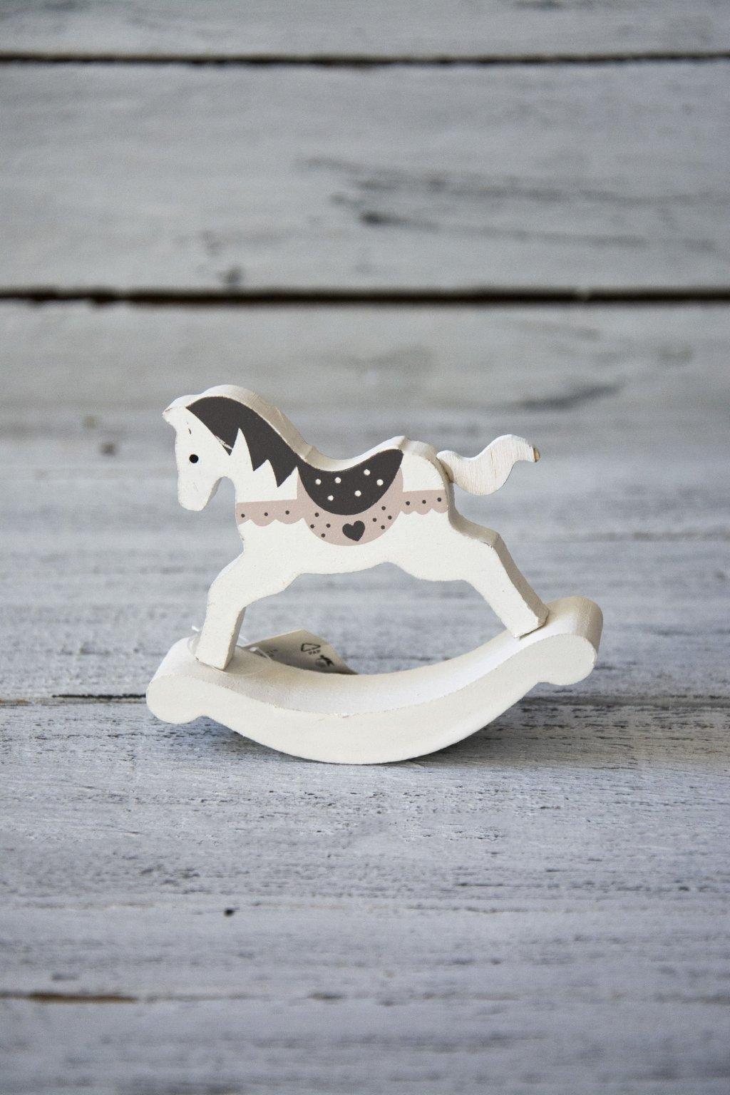 Dřevěný houpací koník bílý