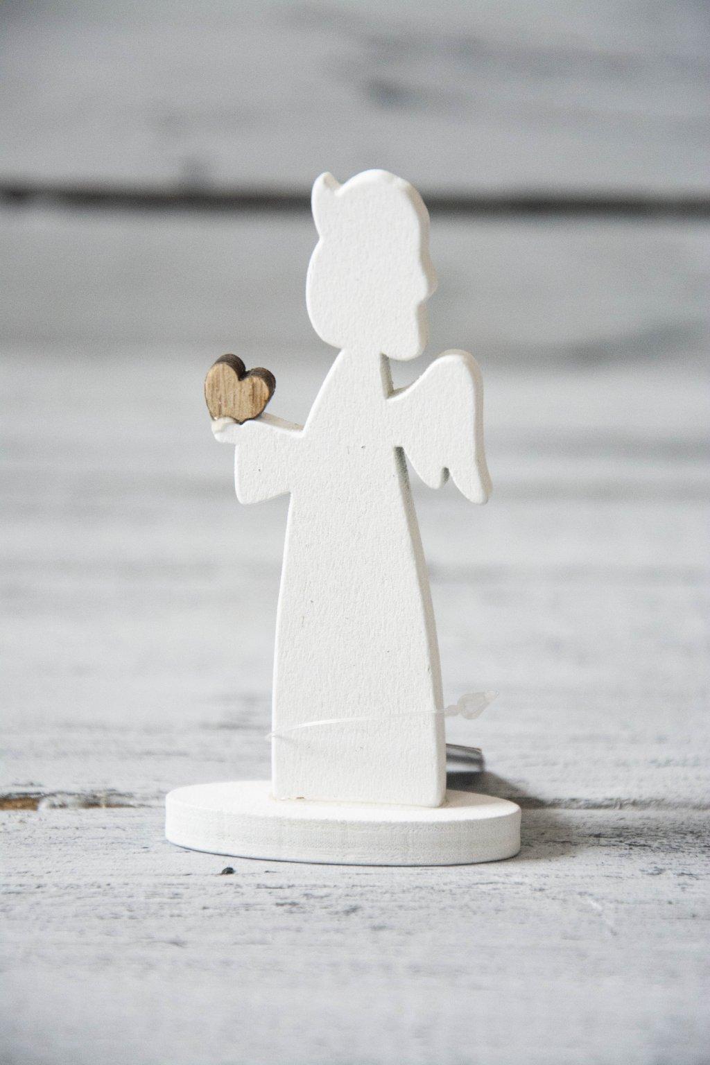 Dřevěný andílek bílý