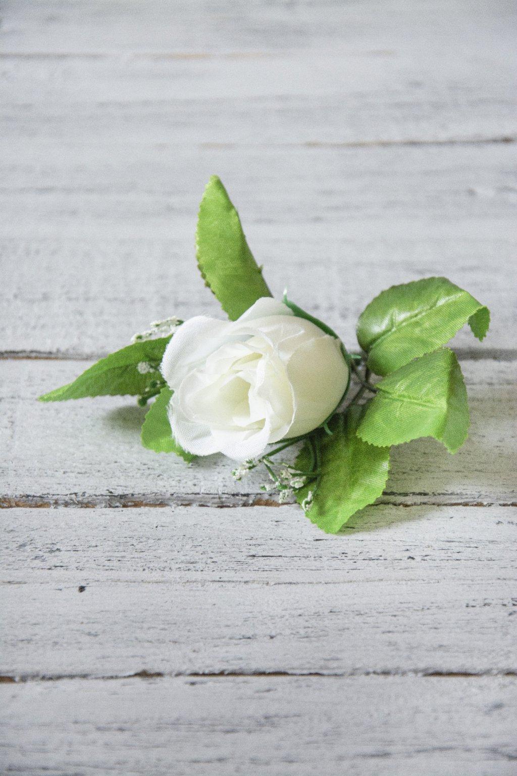 Látková růže bílá - poupátko do vazeb.