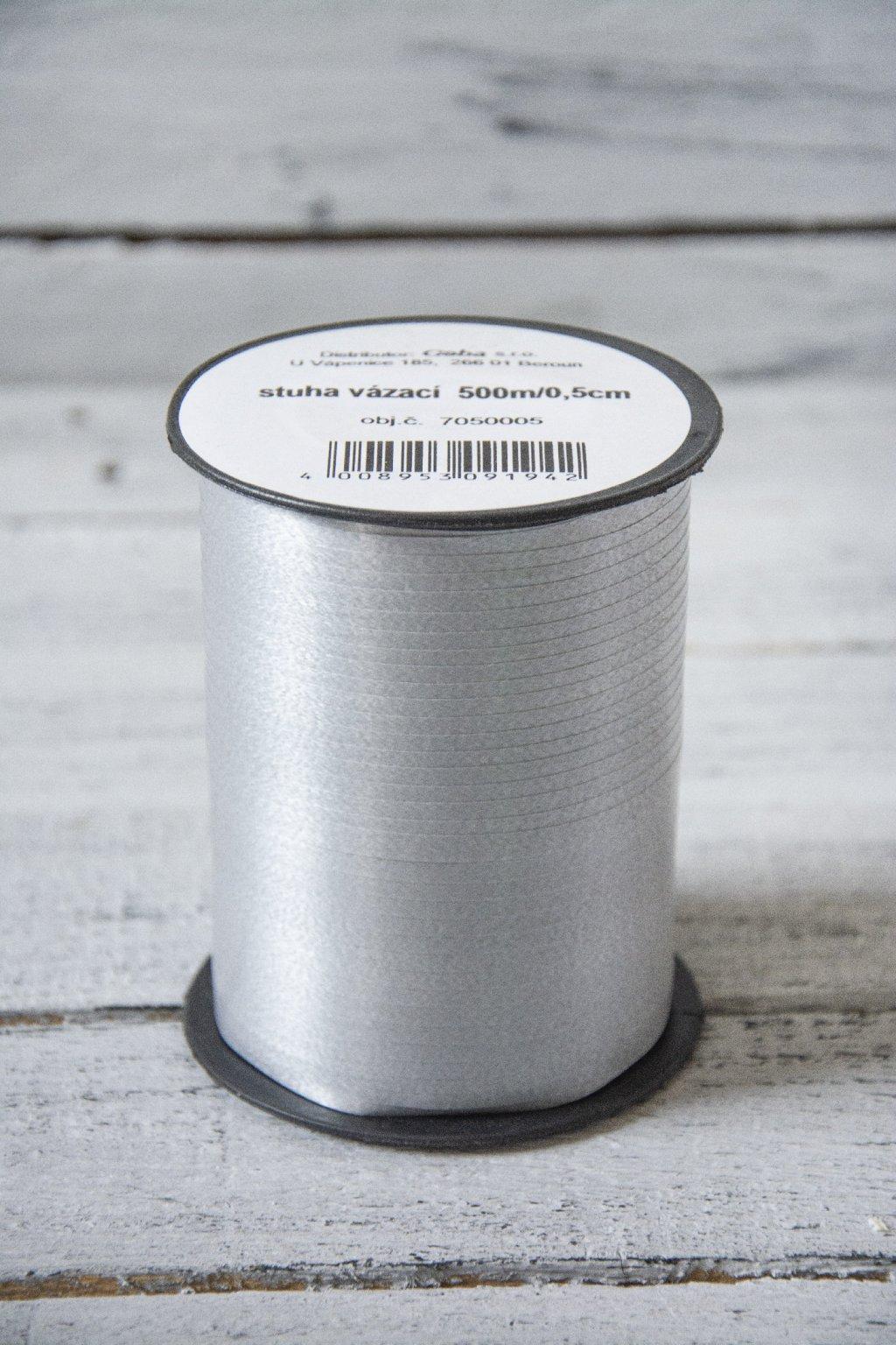 Stříbrná stuha š. 0,5 cm, na špulce návin 500 m.